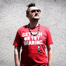"t-shirt thtc ""get rich or try sharing""  55% chanvre et 45% coton bio avec dj vadim"